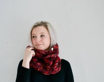 Ready to Ship, Multicolored Textured Cowl, Red, Pink, Purple, Neckwarmer for Women, Circle Scarf, Wool Acrylic Blend