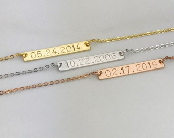 Wedding Date Necklace - Personalized Date Necklace - Custom Date Necklace Gift - Custom Jewelry Bar - Gift for her