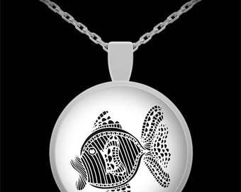 Fish Necklace - Fishing - Animal Lover Jewelry Made From Abstract Animal Art Makes Fun Gifts for Women 22 in Chain - Best Mother's Day Gift!