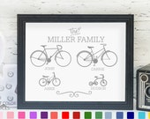 Custom name sign with bicycles | personalized gift for Christmas, housewarming or anniversary