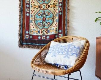 Vintage boho ceiling Cap wall hanging Brown Ikat ethno blue baby blanket bohemian Aztec pattern