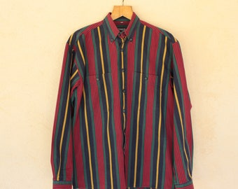 Vintage Red, Green And Yellow Stripe Long Sleeved Shirt - Size Medium