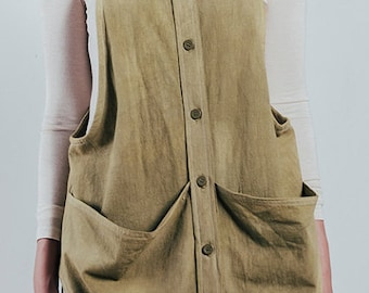 Vest,Smock,Tunic,Over-wear,Hand Dyed,Natural Fibers,100% Cotton,Pre-washed
