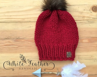 Solid Knit Toque with Fur Pom
