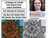 Coloring Variety Pack, Dec 2016, Instant Download, Unique