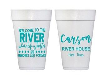 Personalized Foam Cups, 20 oz, Monogrammed, Custom, Party, Styrofoam, Lake, River, Beach