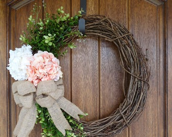Hydrangea Spring Grapevine Wreath
