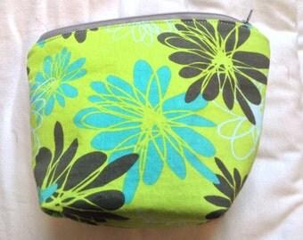 Green Flower print Accessory bag