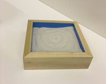 Miniature desk top wooden sandtray