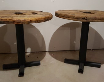 Set of two - Wooden Spool end tables