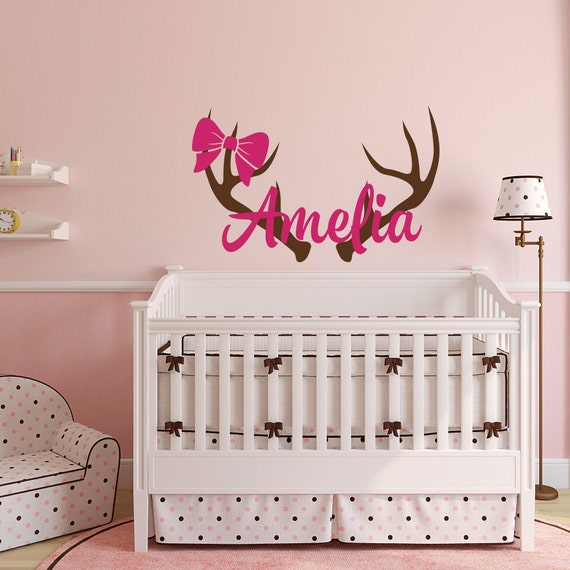 Rustic Wall Decor For Nursery : Personalized hunting wall decal rustic nursery decor girls