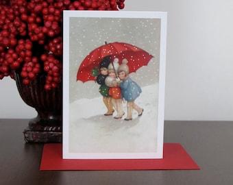 Three Little Girls Under an Umbrella Card, Greeting Card, Holiday Card, Christmas Card, Vintage, Retro
