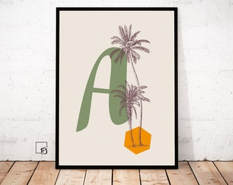 A Vintage tropical Print Vintage Poster tropical Flower Wall Art Letter Print personalised Letter Print tropical Decor Kids room printable