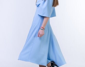 Sky blue dress Sky blue mother of the bride dress Mother of the groom dress Modest wedding guest dress Bell sleeve dress Sky blue bridesmaid