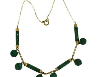 1930s Gold Tone and Green Malachite Vintage Necklace