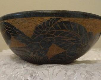Set of three Mayan Clay Designed Bowls