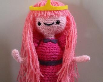 """Princess Bubblegum Posable Crochet Plush, 10"""" plus crown (Adventure Time)"""