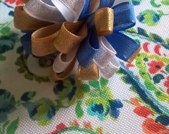 White, Gold and Blue Pom Pom on Barrette
