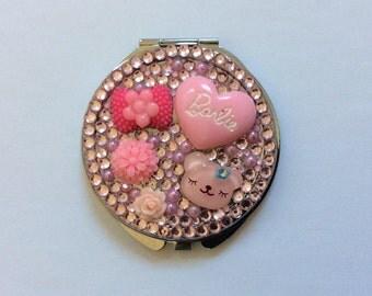 Pink Barbie Mix Pearls Mirror