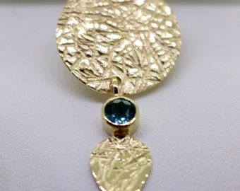 Pendant gold and blue Tourmaline