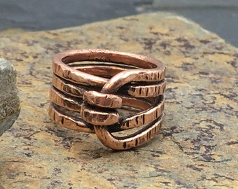 Bright Polished Wireform Copper Ring