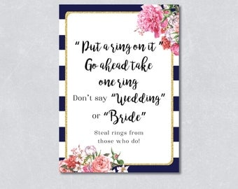 Put a ring on it / Don't say wedding / Nautical bridal shower game / Navy blue / Floral / Gold Glitter /  DIY Printable / INSTANT DOWNLOAD
