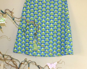 Cotton A Line Skirt in lime green and aqua blue - 'NEAP'