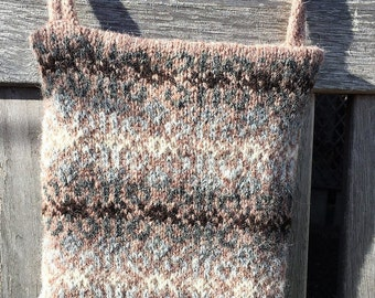 Brown hand knitted Fair Isle crossbody bag