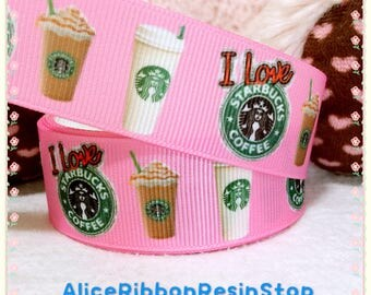 4 yards Starbucks logo grosgrain ribbon, Starbucks ribbon, Starbucks coffee ribbon, hair bow ribbon, grosgrain ribbon, hair bow DIY