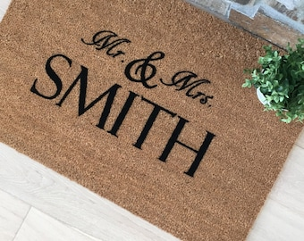 Mr and Mrs Gifts, Mr and Mrs Doormats, Wedding Gifts, Personalized Couple Gifts, Mr and Mrs Smith, Personalized Wedding Gifts