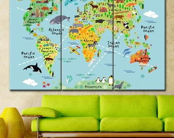 Brightly coloured nursery world map printable file in large world map print large canvas print world map wall art canvas childrens gumiabroncs Images