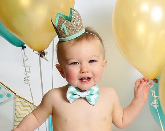 First Birthday Outfit Boy | First Birthday Party Hat | Boy Birthday Glitter Crown | 1st Birthday Photo Prop | Pale Gold + Mint 1