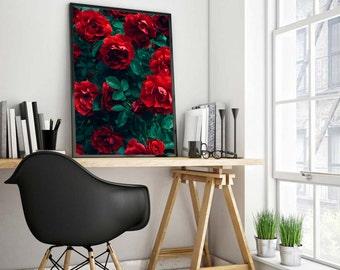 Red rose print, rose print, botanical print, botanical art, flower print, plant print, red print, red wall art, flower photography,red art