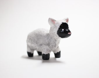 Polymer Clay Sheep Totem Sculpture Handmade Miniature | Unique Handcrafted Animal Sculpture Gift Spirit Animal