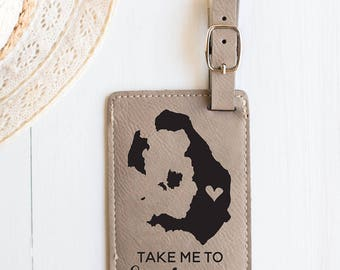 Santorini Luggage Tag, Take me to Santorini, Greece - Greece Honeymoon, Wedding, Travel Map, Santorini Map, Santorini Greek Vacation Luggage