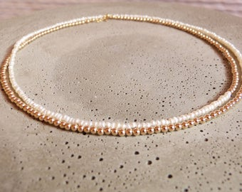Beautiful freshwater pearl necklace in new design with gold filled beads to wear double-breasted