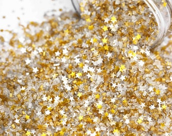 Filthy Rich Fancy Glitter Sugar Crystals, Silver & Gold Sugar, Edible Gold Glitter, Chunky Sugar, Fancy Sprinkles, Sprinkle Blend