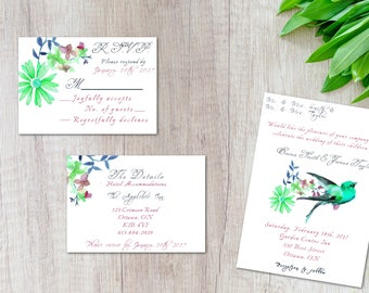 wedding invitation set, Bird invite, Nature invitation, spring wedding, rustic invite, country theme, customized