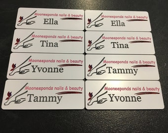 Name badges Engraved and hand coloured 80mm x 30mm x 1.6mm - minimum quantity 5