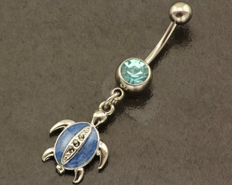 Turtle Belly Button Ring. Summer Dangle Belly Ring. Beach Blue Belly Piercing. Boho Belly Bar. Bohemian Navel Ring. Hippie Body Jewellery.