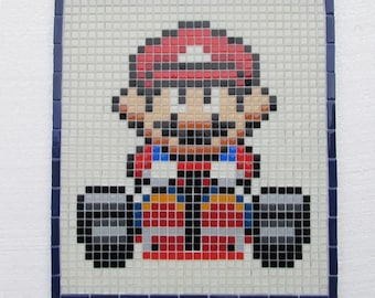 Super Mario Kart handmade mosaic wall art; glass mosaic wall art; retro vintage video games; 8 bit pixel art