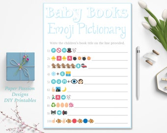 Baby Books Emoji Pictionary Game ~ Children's Books Emoji Game ~ Blue  Baby Shower Game ~ Baby Boy ~ Printable Game 0026B