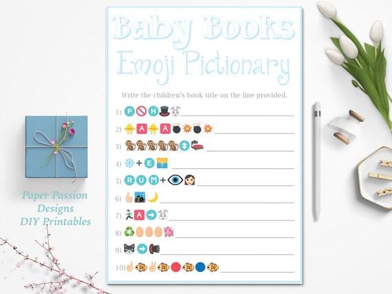 emoji pictionary game children 39 s books emoji game blue baby shower