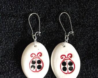 Ceramic Earrings, Set of Two, Dangle Earrings, Drop Earrings, Oval Earrings, Lady Bug, Red and Black