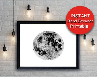 Moon Art / Moon Print / Black and White Print / Digital Download Moon Photo, Lunar Decor, 16x20 24x36 A4