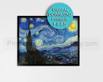 Starry Night Print - Van Gogh Reproduction - Blue Yellow Fine Art Print Digital Download 5x7 / 8x10 / 11x14 / 16x20 / A4