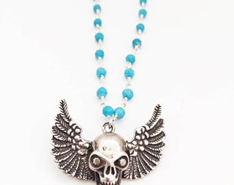 Turquoise Sterling Silver Winged Skull Necklace