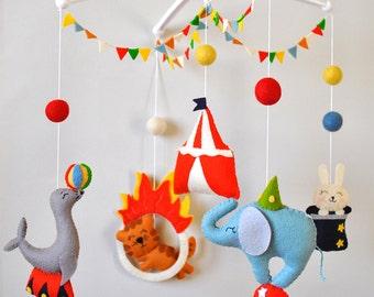 Baby mobile Circus Animals cot mobile Elephant mobile Boy Girl Nursery decor Circus baby shower gift Crib hanging mobile 100% wool felt