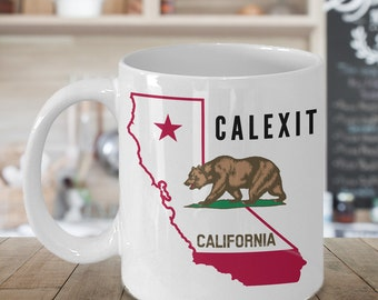 Calexit Mug 11 oz. California Ceramic Coffee Cup / California Pride Coffee Cup Cali Love Mug