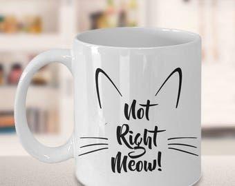 Cat Coffee Mug - Not Right Meow Cat Mug - Cat Person Gifts - Cat Tea Mug - Crazy Cat Lady Gifts - Cute Cat Mug -